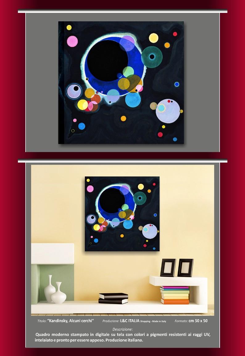 Kandinsky alcuni cerchi quadro moderno arte quadri stampa su tela riproduzione ebay - Decor art quadri bari ...