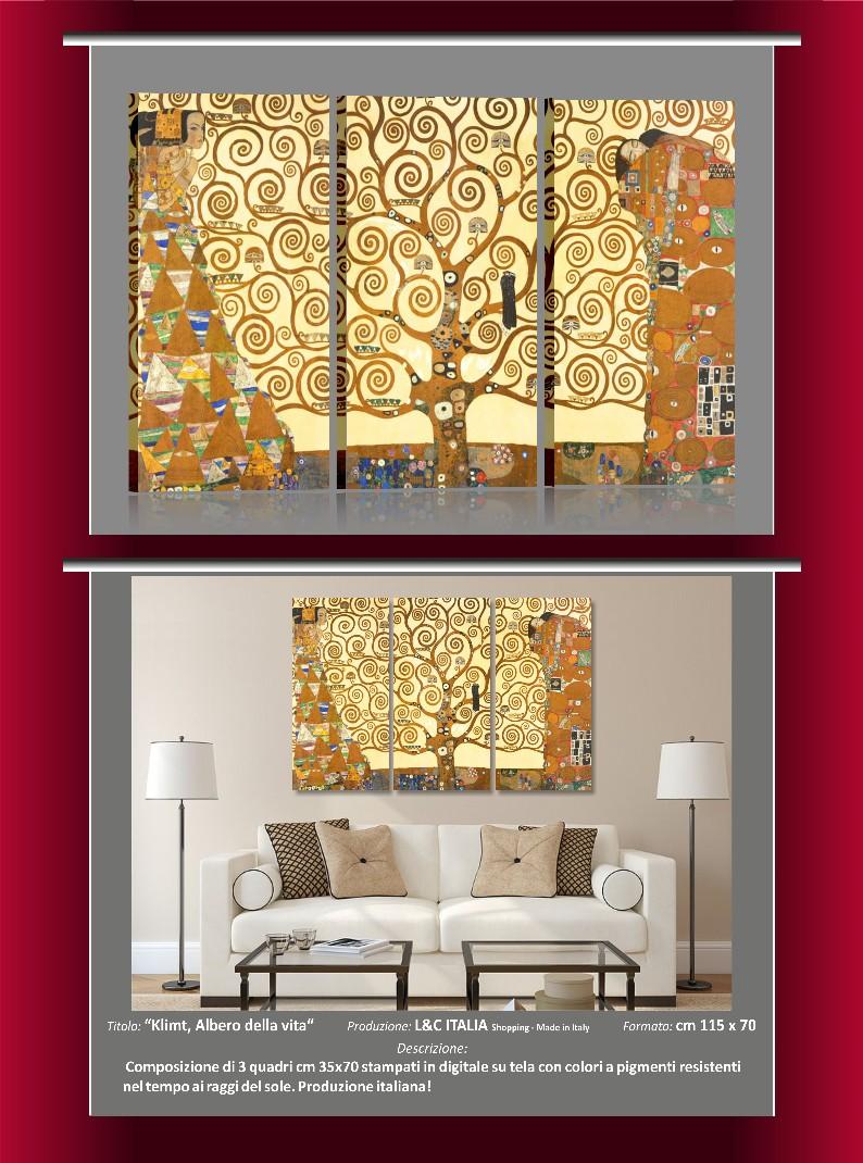 Klimt albero della vita quadro moderno stampa tela arte - Quadri arredamento casa ...