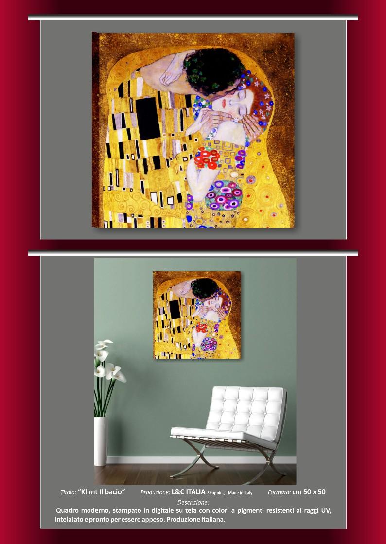 Gustav klimt il bacio quadro moderno stampa tela salotto for Quadri decorativi arredamento