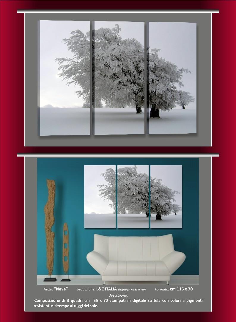 Neve 3 quadri moderni casa arredamento poster stampe for Poster arredo casa