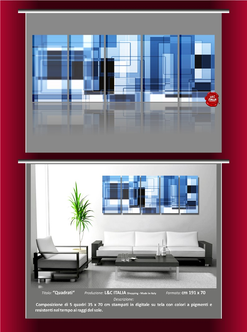 Quadrati 5 quadri moderni arredo casa ufficio stampa for Ufficio stampa design