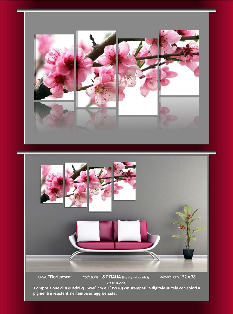 quadri moderni arredo casa spa fiori pesco tulipani rose