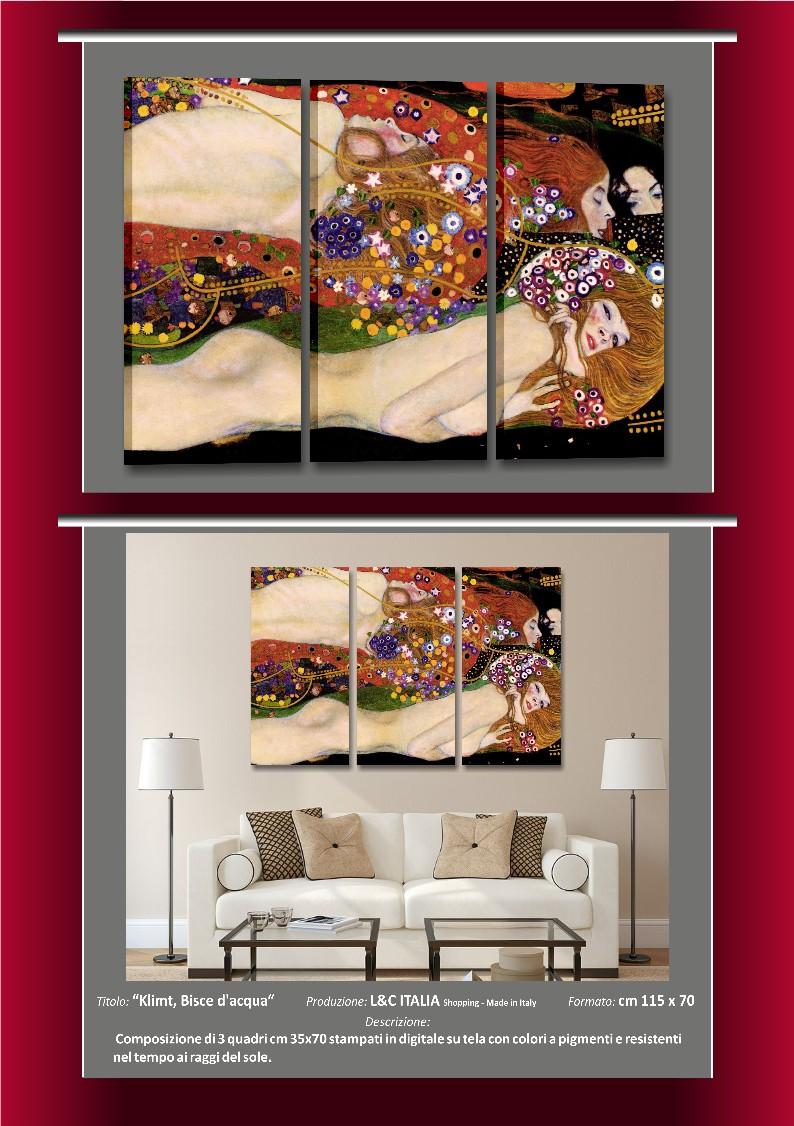 Klimt bisce d 39 acqua quadri moderni quadro arredamento casa arte stampa tela ebay - Quadri arredamento casa ...