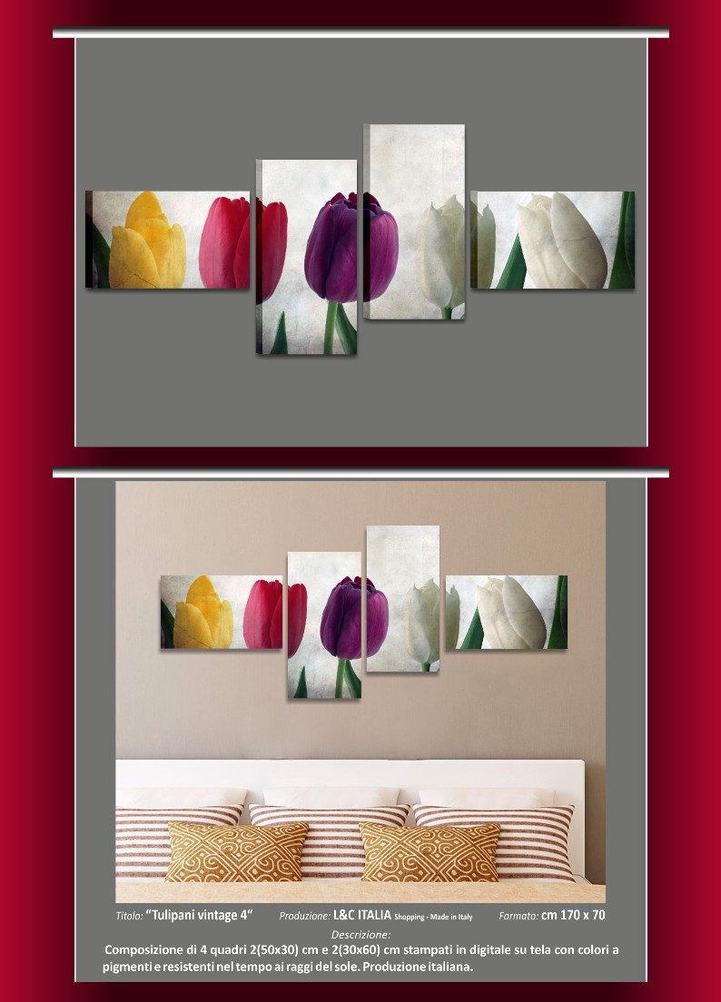 Tulipani vintage 4 - QUADRI MODERNI 170x70 FIORI SHABBY CHIC ...