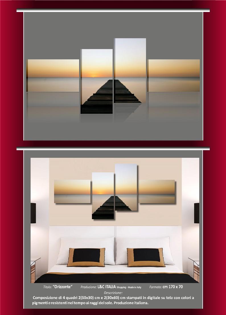 Orizzonte quadro moderno arredamento casa quadri moderni paesaggio mare spiaggia - Quadri arredamento casa ...