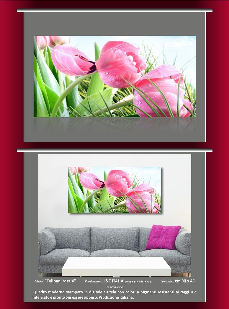 Tulipani rosa 4 quadri moderni 90x45 arredo casa spa for Quadri moderni orchidee