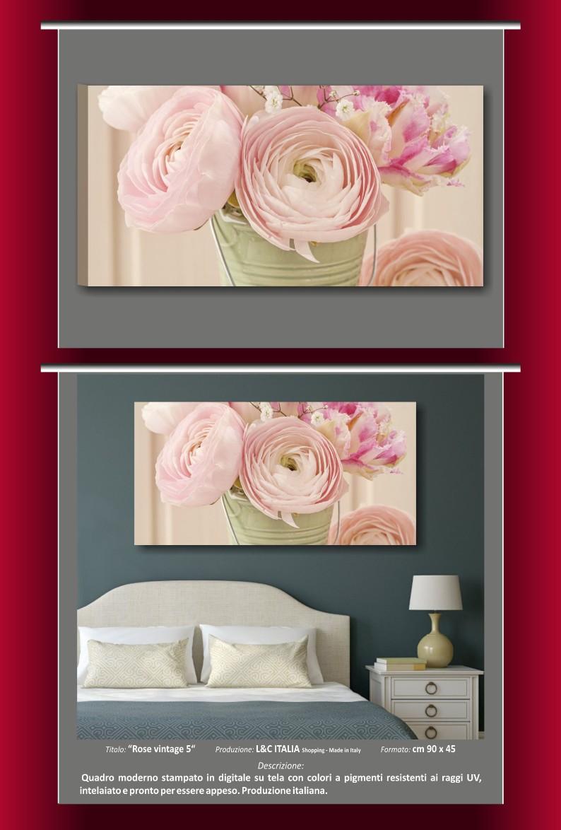 Rose vintage 5 quadro 90x45 cm quadri tela fiori arredamento casa ...